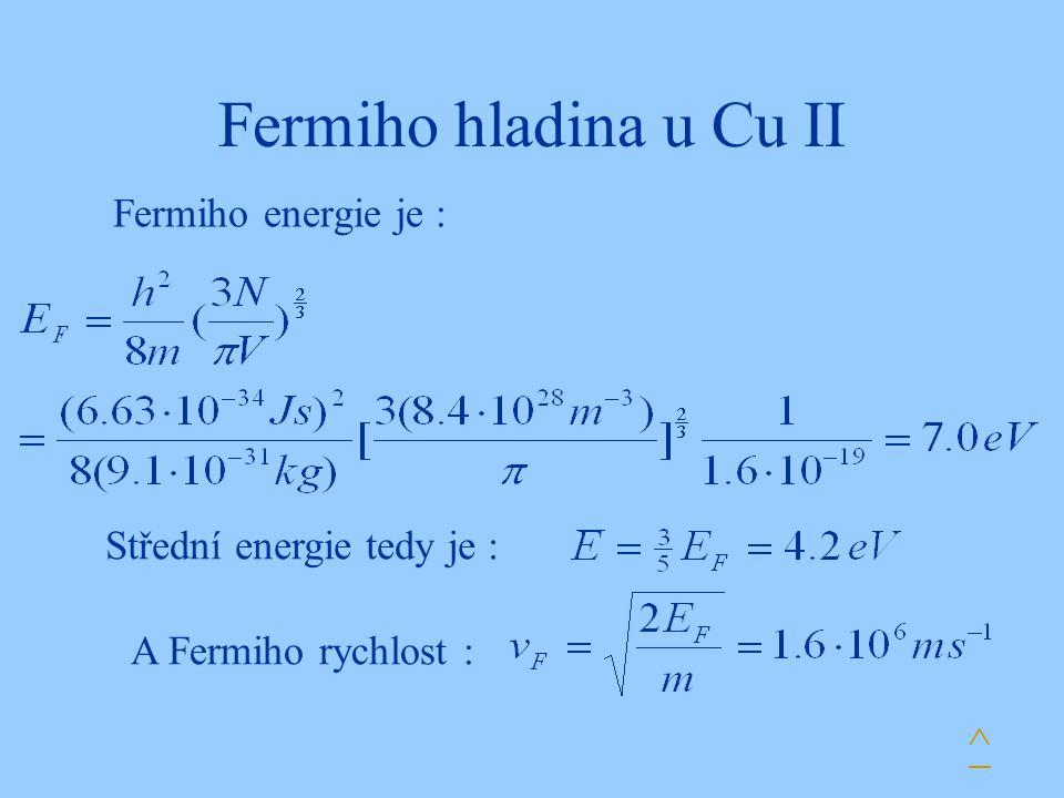 Fermiho hladina u Cu II Fermiho energie je : A Fermiho rychlost : ^ Střední energie tedy je :
