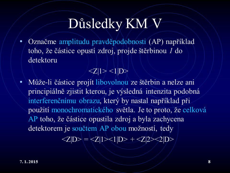 7. 1. 20158 Důsledky KM V Označme amplitudu pravděpodobnosti (AP) například toho, že částice opustí zdroj, projde štěrbinou 1 do detektoru Může-li čás