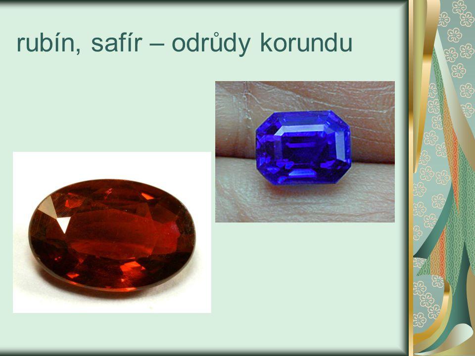 rubín, safír – odrůdy korundu