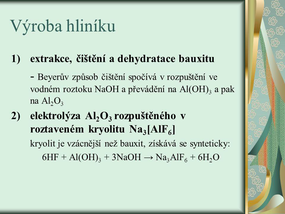 Výroba hliníku 1)extrakce, čištění a dehydratace bauxitu - Beyerův způsob čištění spočívá v rozpuštění ve vodném roztoku NaOH a převádění na Al(OH) 3 a pak na Al 2 O 3 2)elektrolýza Al 2 O 3 rozpuštěného v roztaveném kryolitu Na 3 [AlF 6 ] kryolit je vzácnější než bauxit, získává se synteticky: 6HF + Al(OH) 3 + 3NaOH → Na 3 AlF 6 + 6H 2 O
