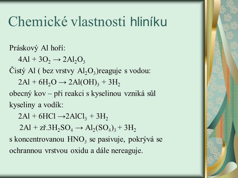 Chemické vlastnosti hliníku Práskový Al hoří: 4Al + 3O 2 → 2Al 2 O 3 Čistý Al ( bez vrstvy Al 2 O 3 )reaguje s vodou: 2Al + 6H 2 O → 2Al(OH) 3 + 3H 2 obecný kov – při reakci s kyselinou vzniká sůl kyseliny a vodík: 2Al + 6HCl →2AlCl 3 + 3H 2 2Al + zř.3H 2 SO 4 → Al 2 (SO 4 ) 3 + 3H 2 s koncentrovanou HNO 3 se pasivuje, pokrývá se ochrannou vrstvou oxidu a dále nereaguje.