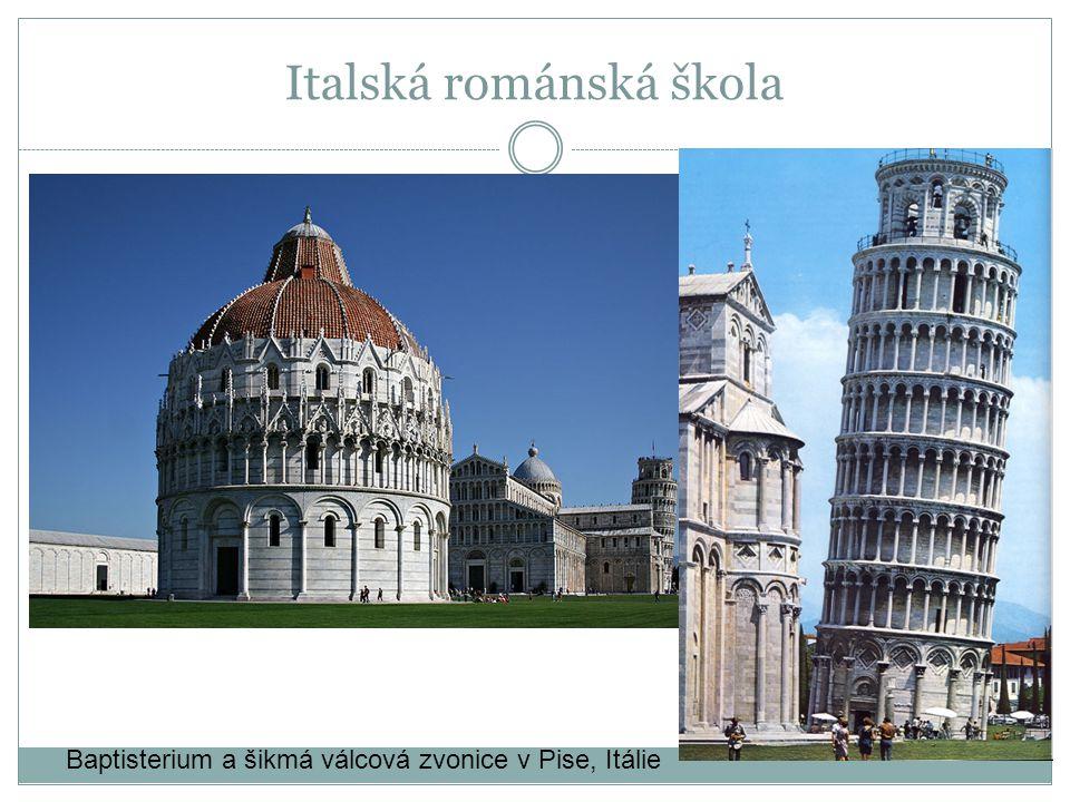 Baptisterium a šikmá válcová zvonice v Pise, Itálie Italská románská škola