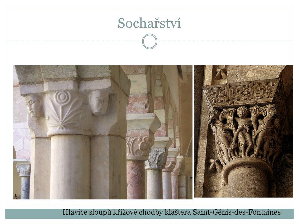 Sochařství Hlavice sloupů křížové chodby kláštera Saint-Génis-des-Fontaines