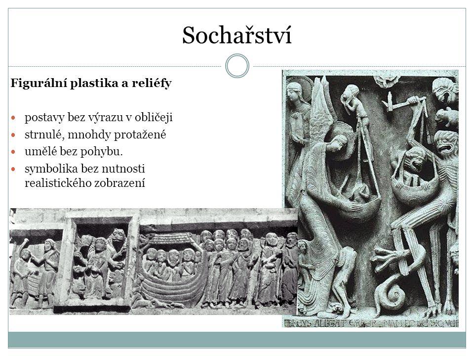 Sochařství Figurální plastika a reliéfy postavy bez výrazu v obličeji strnulé, mnohdy protažené umělé bez pohybu. symbolika bez nutnosti realistického
