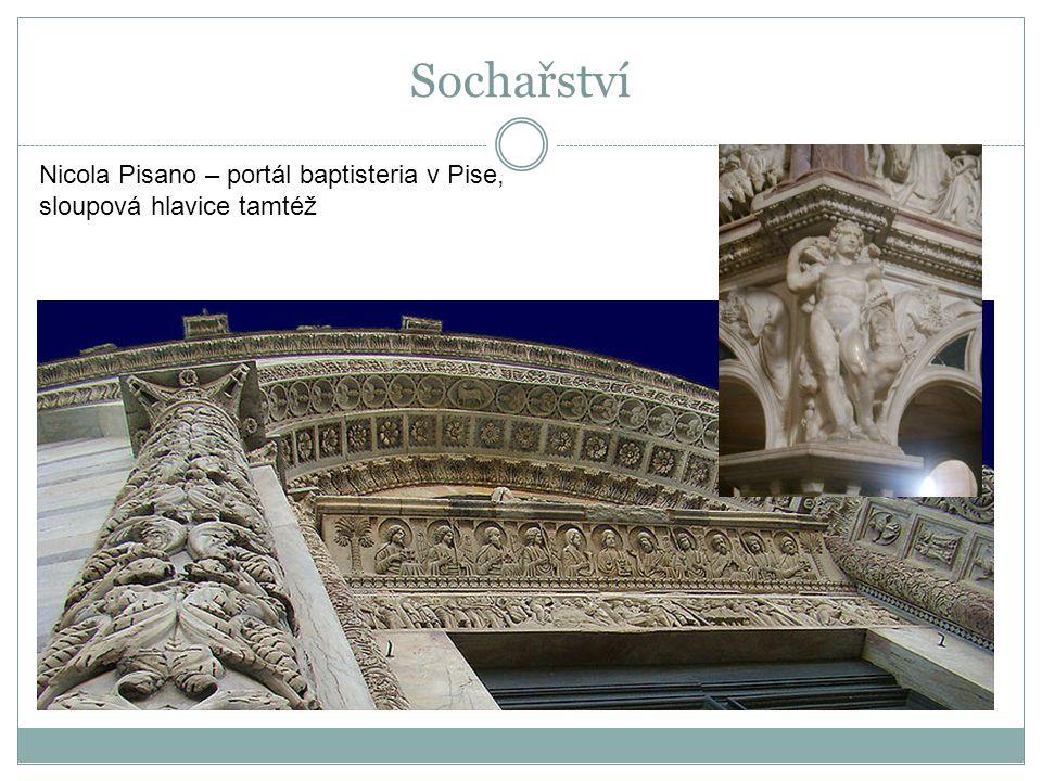 Sochařství Nicola Pisano – portál baptisteria v Pise, sloupová hlavice tamtéž