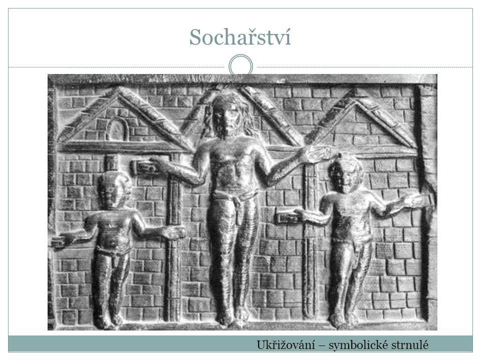 Sochařství Ukřižování – symbolické strnulé
