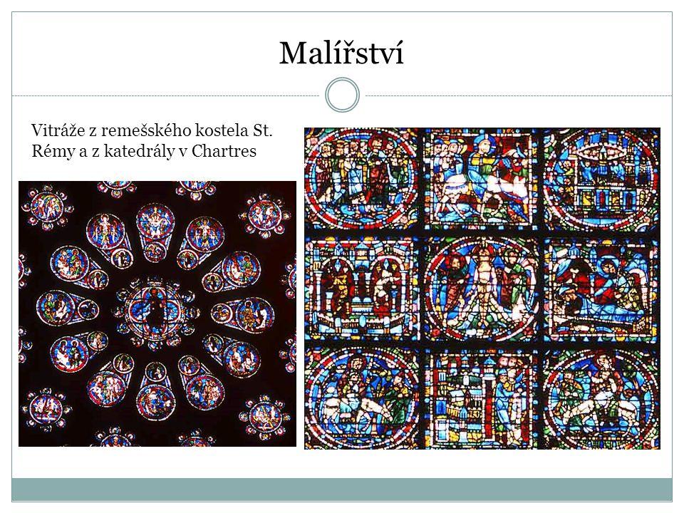 Vitráže z remešského kostela St. Rémy a z katedrály v Chartres Malířství