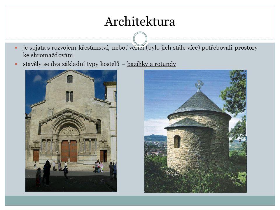 Architektura je spjata s rozvojem křesťanství, neboť věřící (bylo jich stále více) potřebovali prostory ke shromažďování stavěly se dva základní typy