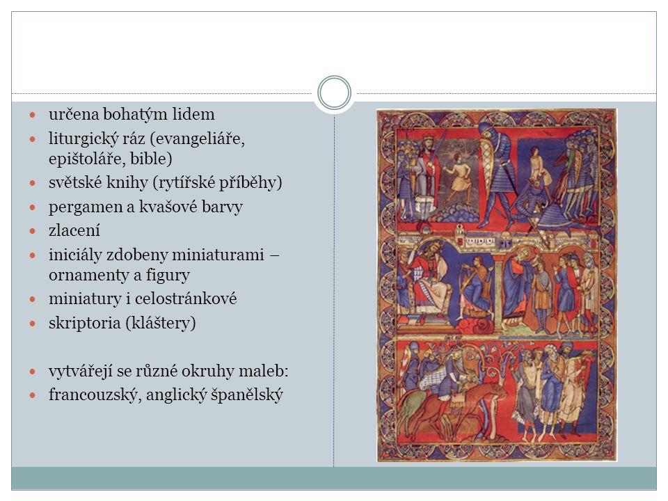 určena bohatým lidem liturgický ráz (evangeliáře, epištoláře, bible) světské knihy (rytířské příběhy) pergamen a kvašové barvy zlacení iniciály zdoben