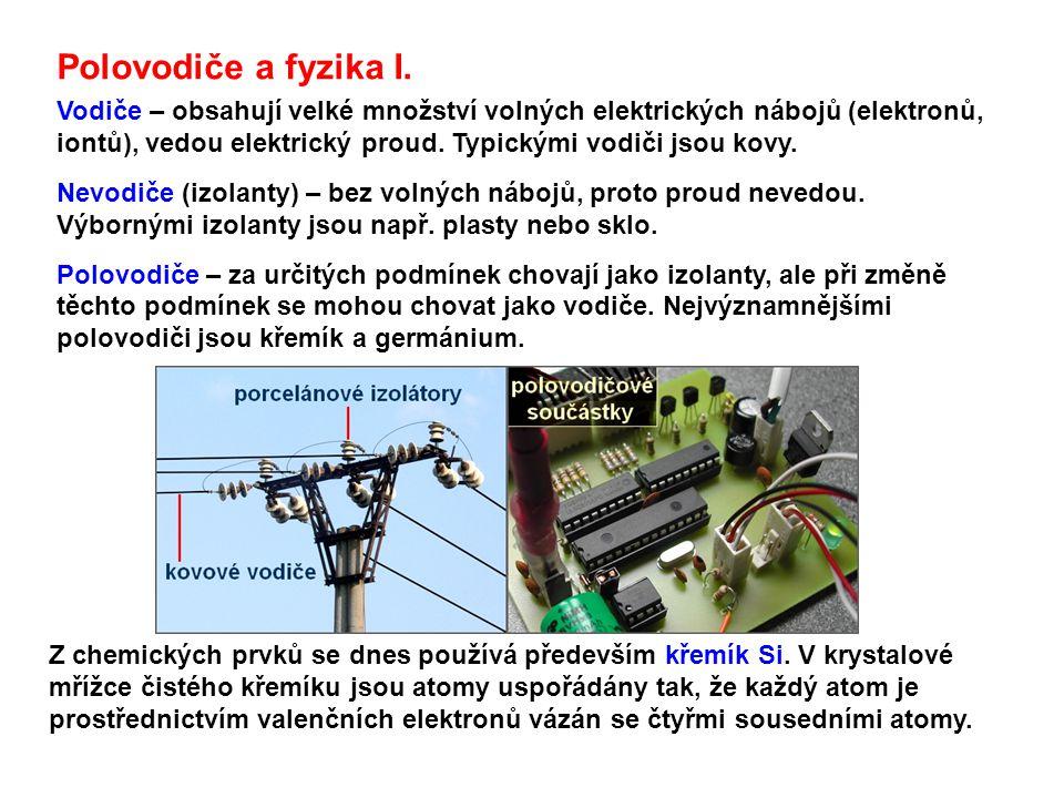 Polovodiče a fyzika I. Vodiče – obsahují velké množství volných elektrických nábojů (elektronů, iontů), vedou elektrický proud. Typickými vodiči jsou