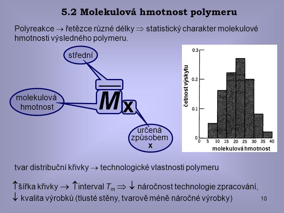 10 Polyreakce  řetězce různé délky  statistický charakter molekulové hmotnosti výsledného polymeru. 5.2 Molekulová hmotnost polymeru tvar distribučn