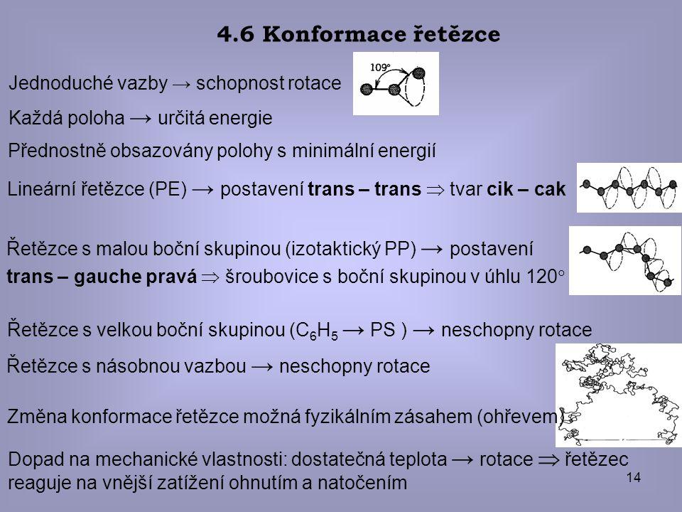 14 4.6 Konformace řetězce Jednoduché vazby → schopnost rotace Každá poloha → určitá energie Přednostně obsazovány polohy s minimální energií Lineární