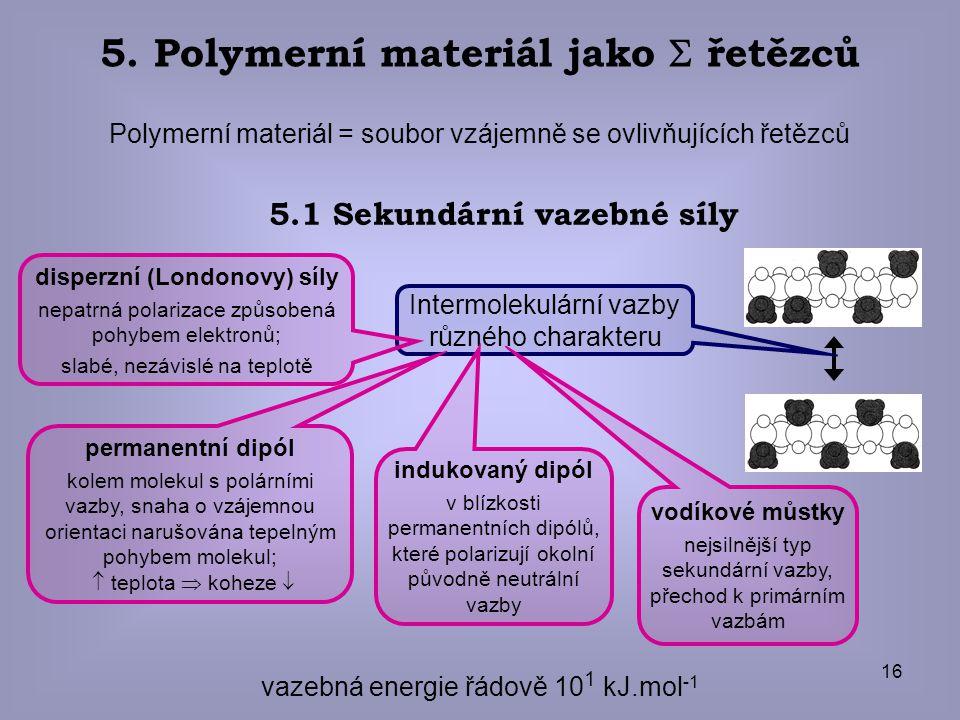 16 5. Polymerní materiál jako  řetězců Polymerní materiál = soubor vzájemně se ovlivňujících řetězců vazebná energie řádově 10 1 kJ.mol -1 5.1 Sekund