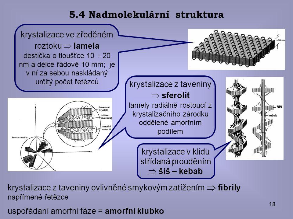 18 5.4 Nadmolekulární struktura uspořádání amorfní fáze = amorfní klubko krystalizace z taveniny ovlivněné smykovým zatížením  fibrily napřímené řetě