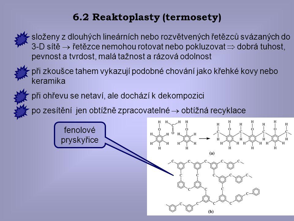 21 6.2 Reaktoplasty (termosety) fenolové pryskyřice složeny z dlouhých lineárních nebo rozvětvených řetězců svázaných do 3-D sítě  řetězce nemohou ro