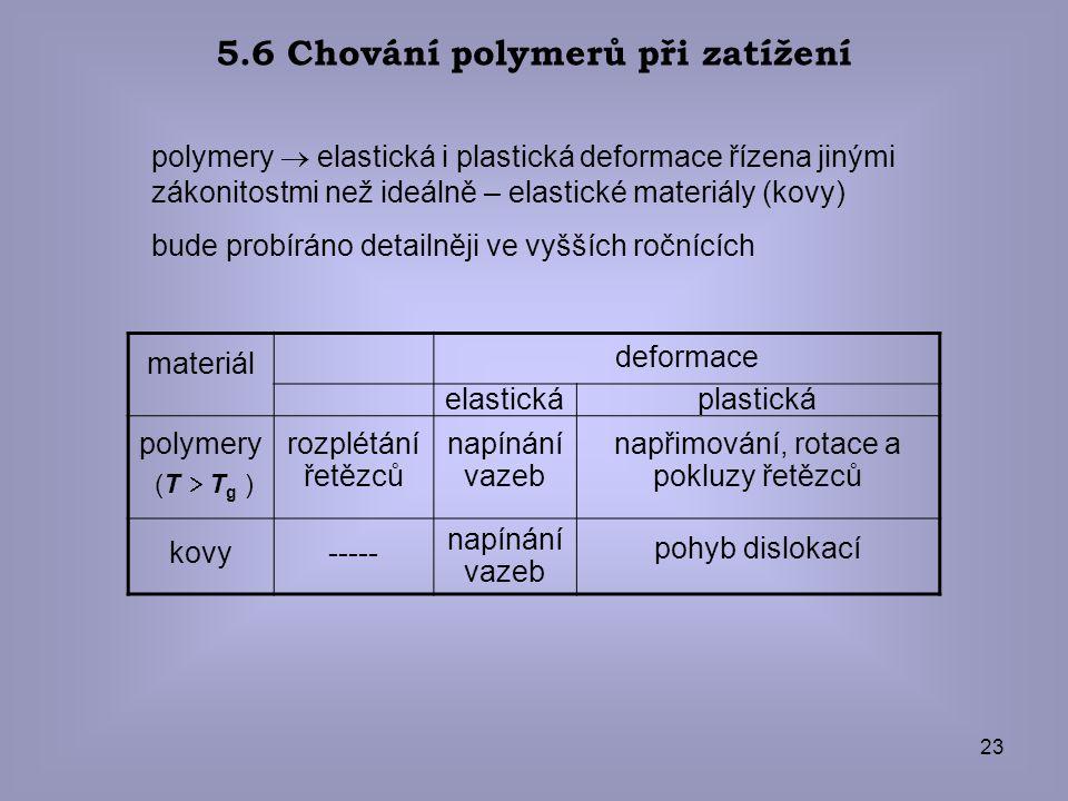 23 5.6 Chování polymerů při zatížení polymery  elastická i plastická deformace řízena jinými zákonitostmi než ideálně – elastické materiály (kovy) bu
