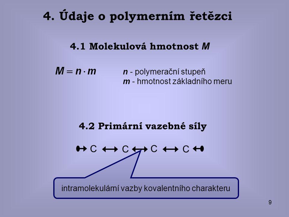 9 4. Údaje o polymerním řetězci n - polymerační stupeň m - hmotnost základního meru 4.1 Molekulová hmotnost M 4.2 Primární vazebné síly C C C C intram