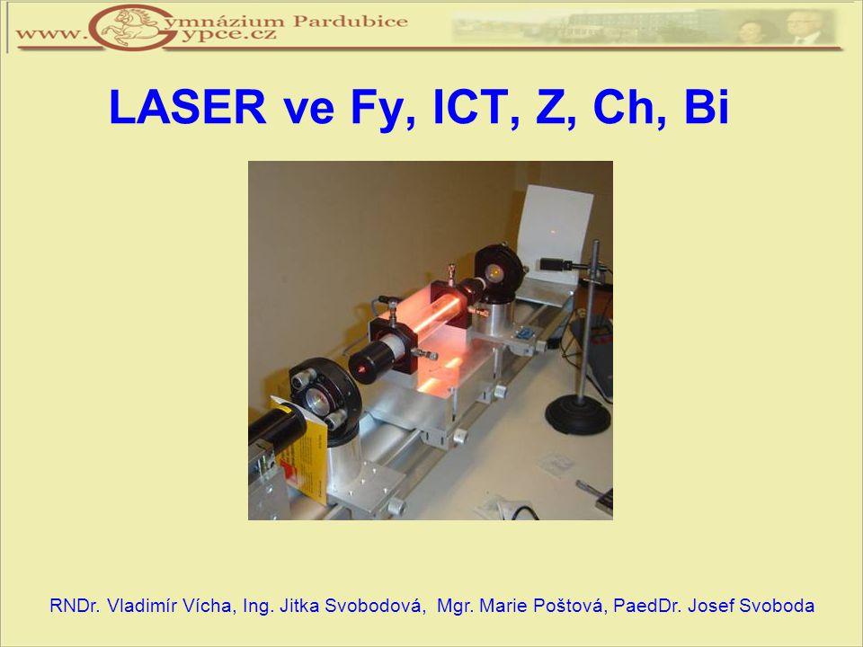 Obsah projektu:  Přednáška o principu laseru a jeho využití ve Fy, ICT, Z, Ch  Experimenty s laserovým ukazovátkem  Exkurze na PALS a úlohy z exkurze  Test s vyhledáváním informací