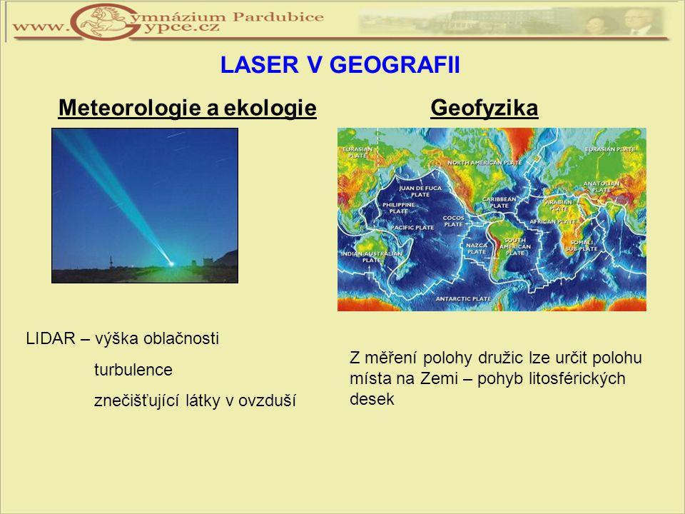 LASER V GEOGRAFII Meteorologie a ekologie LIDAR – výška oblačnosti turbulence znečišťující látky v ovzduší Geofyzika Z měření polohy družic lze určit