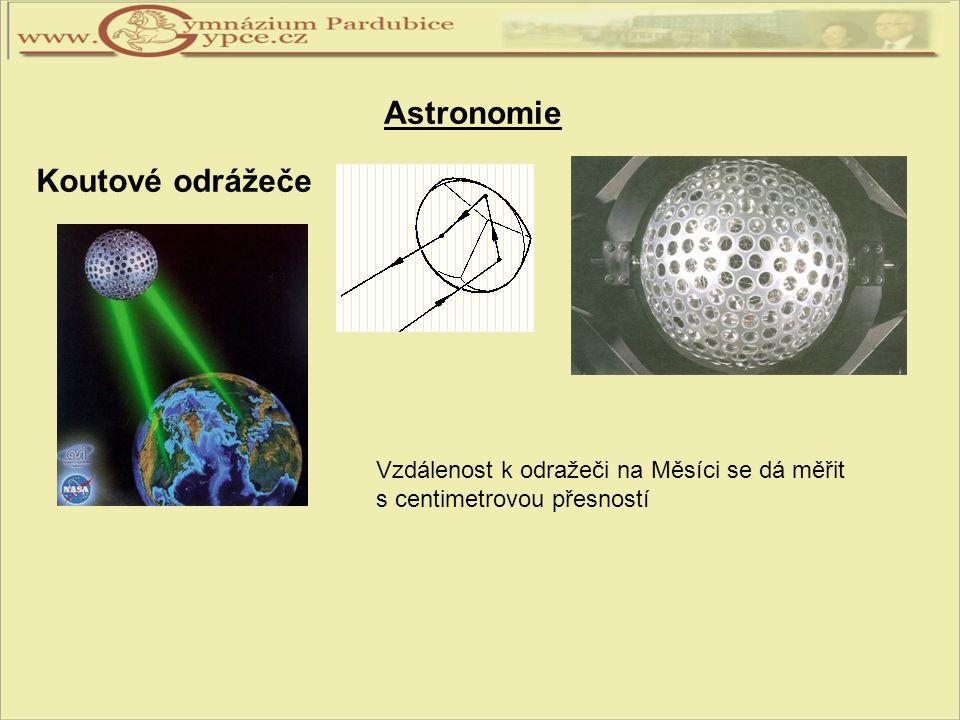Astronomie Koutové odrážeče Vzdálenost k odražeči na Měsíci se dá měřit s centimetrovou přesností