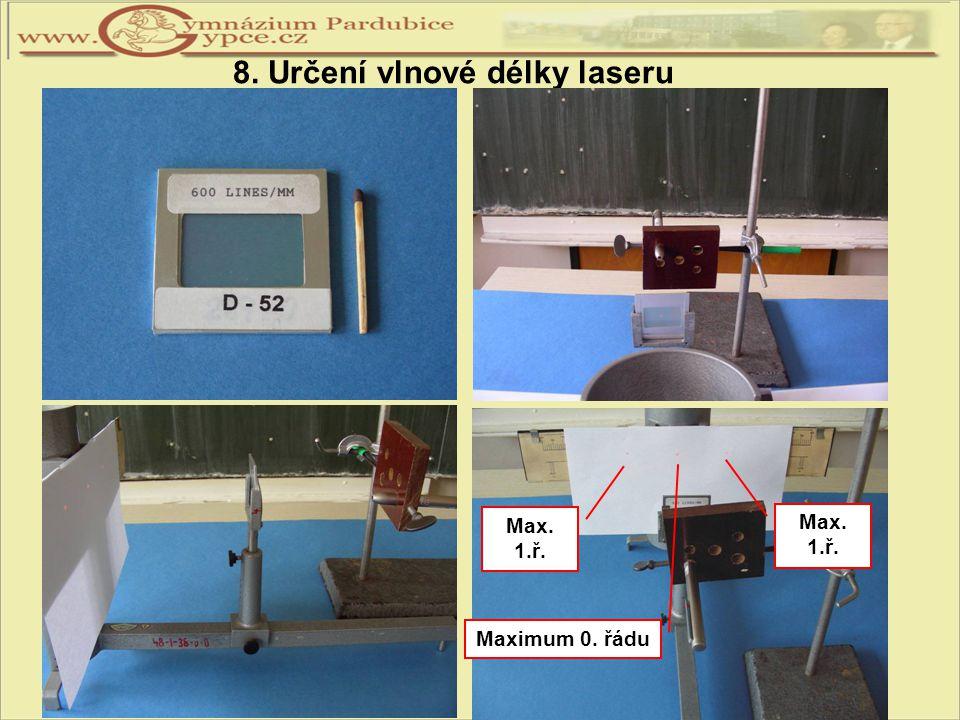 8. Určení vlnové délky laseru Maximum 0. řádu Max. 1.ř. Max. 1.ř.