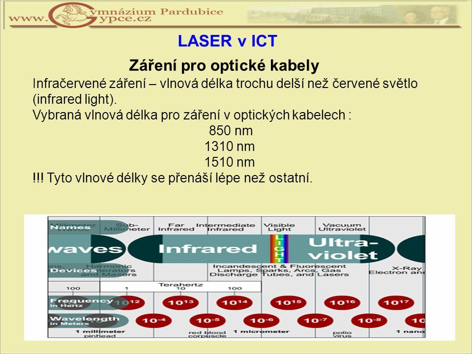 Infračervené záření – vlnová délka trochu delší než červené světlo (infrared light). Vybraná vlnová délka pro záření v optických kabelech : 850 nm 131