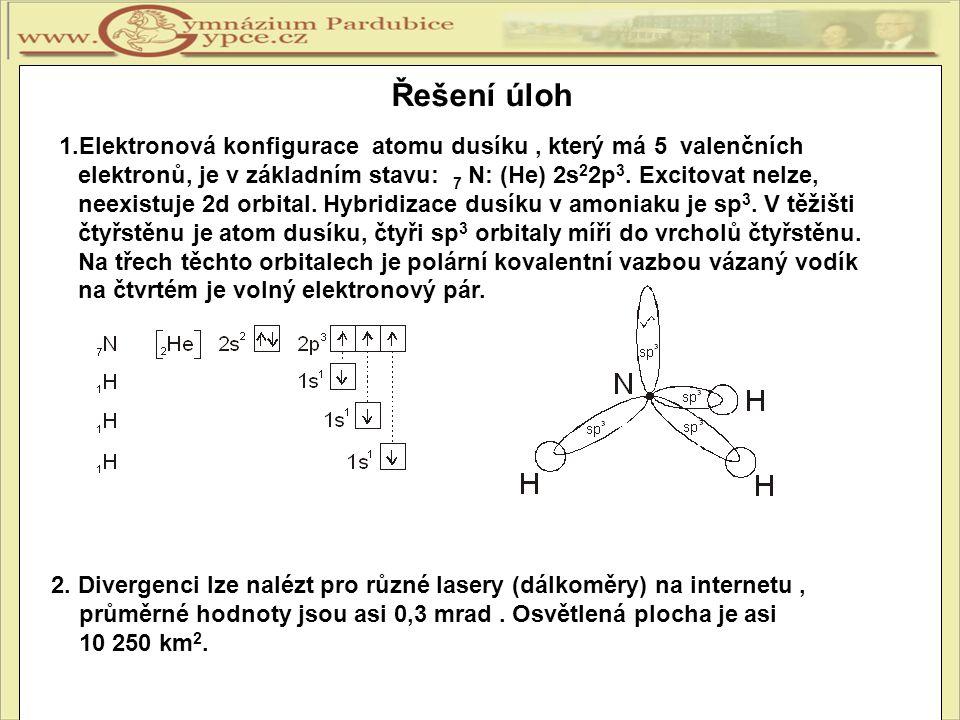 1.Elektronová konfigurace atomu dusíku, který má 5 valenčních elektronů, je v základním stavu: 7 N: (He) 2s 2 2p 3. Excitovat nelze, neexistuje 2d orb