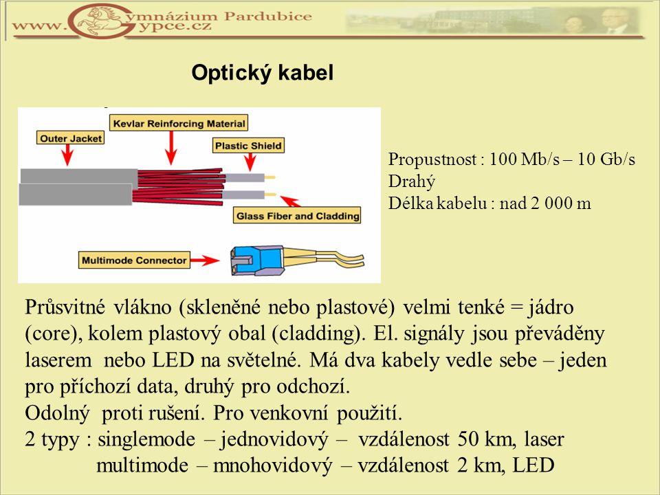 Propustnost : 100 Mb/s – 10 Gb/s Drahý Délka kabelu : nad 2 000 m Průsvitné vlákno (skleněné nebo plastové) velmi tenké = jádro (core), kolem plastový