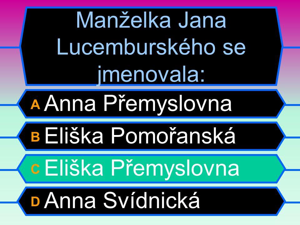 Manželka Jana Lucemburského se jmenovala: A Anna Přemyslovna B Eliška Pomořanská C Eliška Přemyslovna D Anna Svídnická