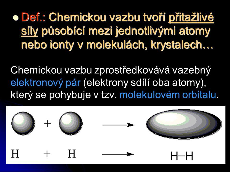 Def.: Chemickou vazbu tvoří přitažlivé síly působící mezi jednotlivými atomy nebo ionty v molekulách, krystalech… Def.: Chemickou vazbu tvoří přitažli