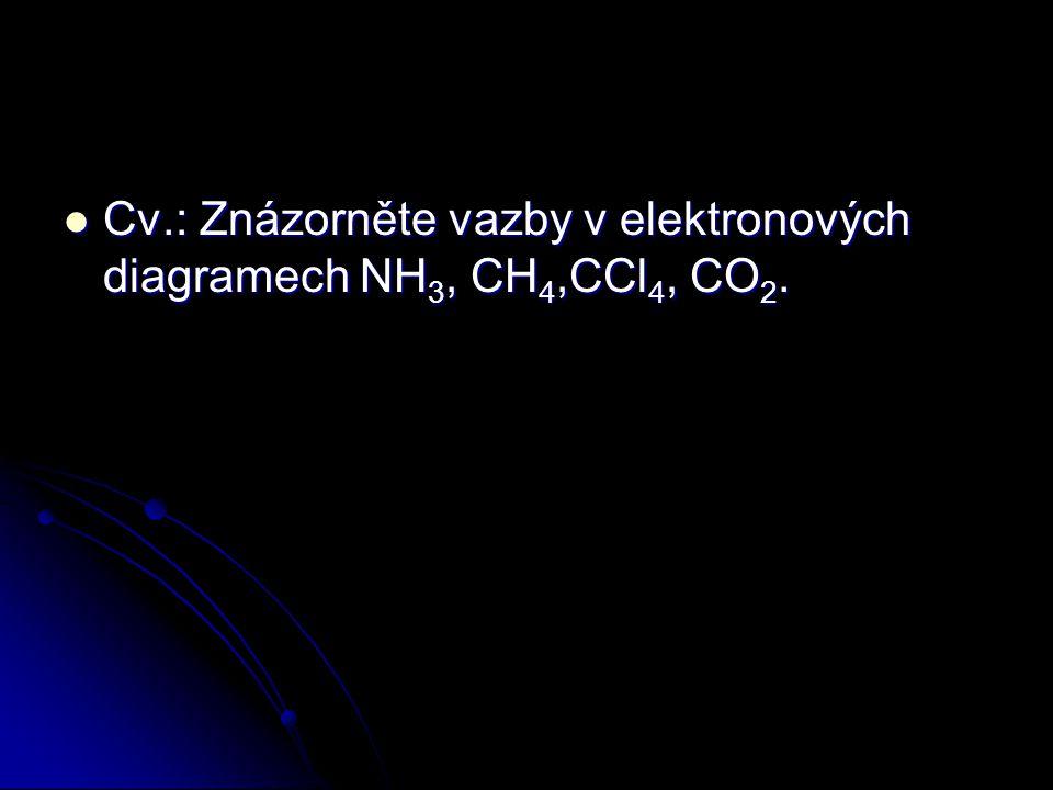 Cv.: Znázorněte vazby v elektronových diagramech NH 3, CH 4,CCl 4, CO 2. Cv.: Znázorněte vazby v elektronových diagramech NH 3, CH 4,CCl 4, CO 2.