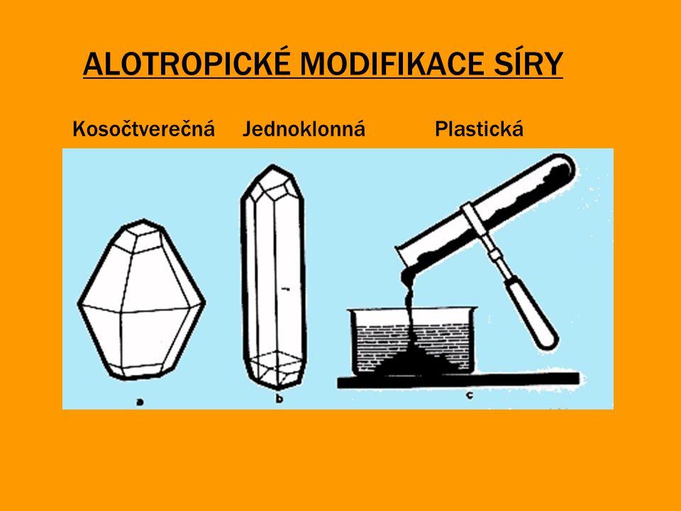 ALOTROPICKÉ MODIFIKACE SÍRY Kosočtverečná Jednoklonná Plastická
