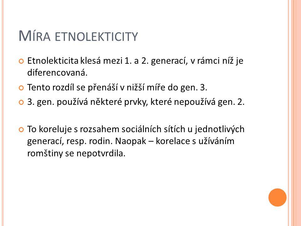 M ÍRA ETNOLEKTICITY Etnolekticita klesá mezi 1.a 2.