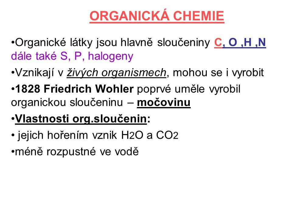 ORGANICKÁ CHEMIE Organické látky jsou hlavně sloučeniny C, O,H,N dále také S, P, halogeny Vznikají v živých organismech, mohou se i vyrobit 1828 Fried