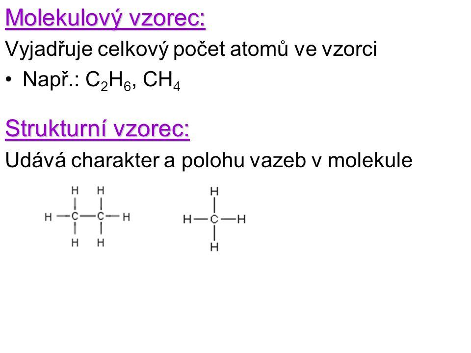 Molekulový vzorec: Vyjadřuje celkový počet atomů ve vzorci Např.: C 2 H 6, CH 4 Strukturní vzorec: Udává charakter a polohu vazeb v molekule
