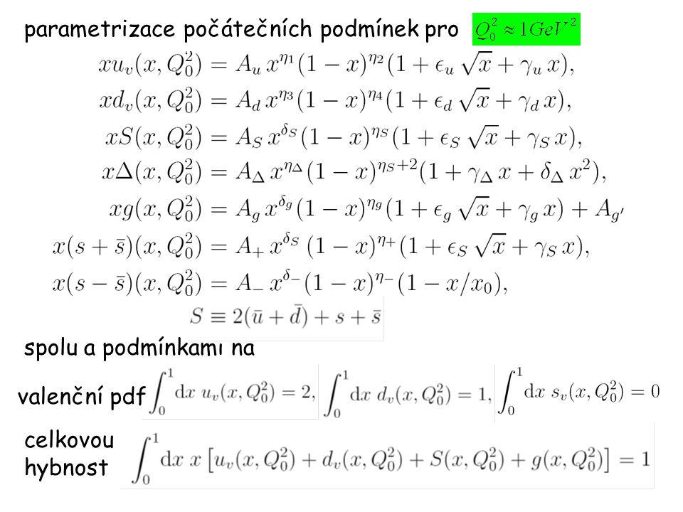 parametrizace počátečních podmínek pro spolu a podmínkami na valenční pdf celkovou hybnost