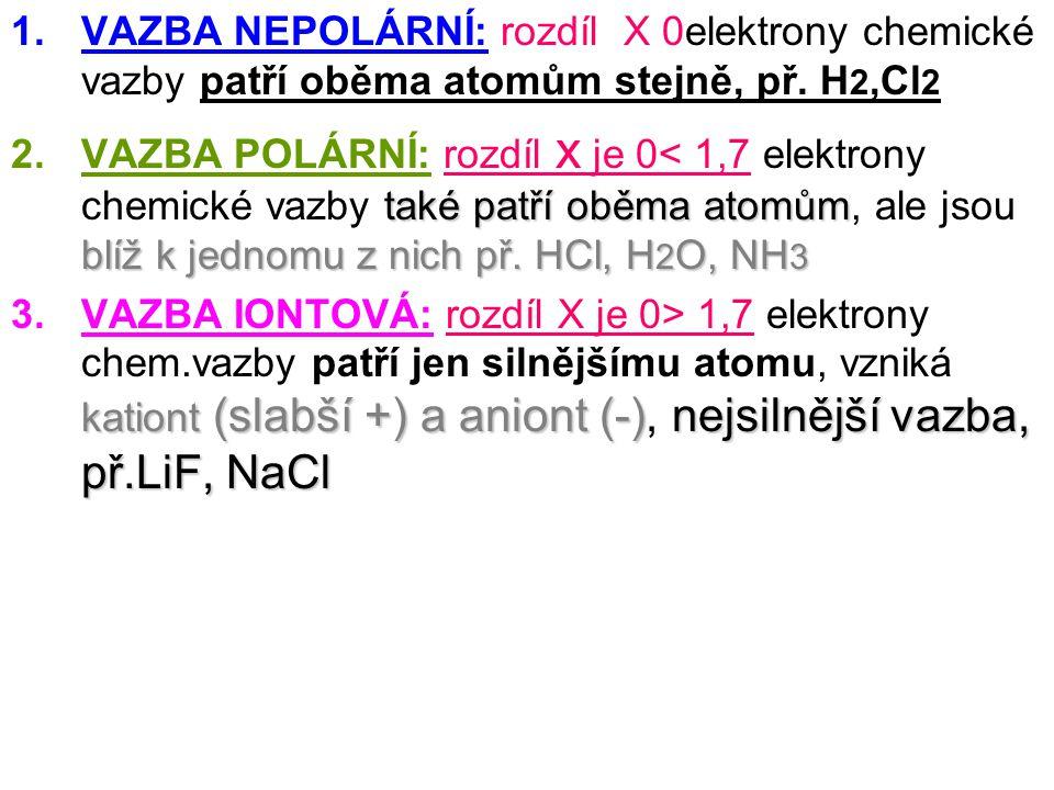 1.VAZBA NEPOLÁRNÍ: rozdíl X 0elektrony chemické vazby patří oběma atomům stejně, př.