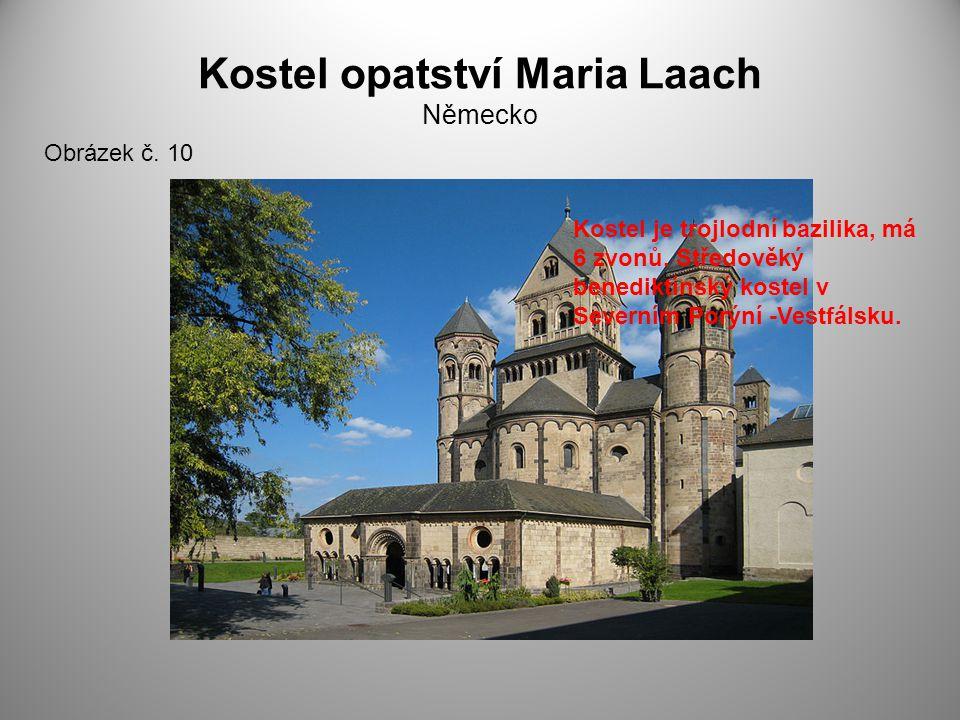 Kostel opatství Maria Laach Německo Obrázek č. 10 Kostel je trojlodní bazilika, má 6 zvonů. Středověký benediktínský kostel v Severním Porýní -Vestfál
