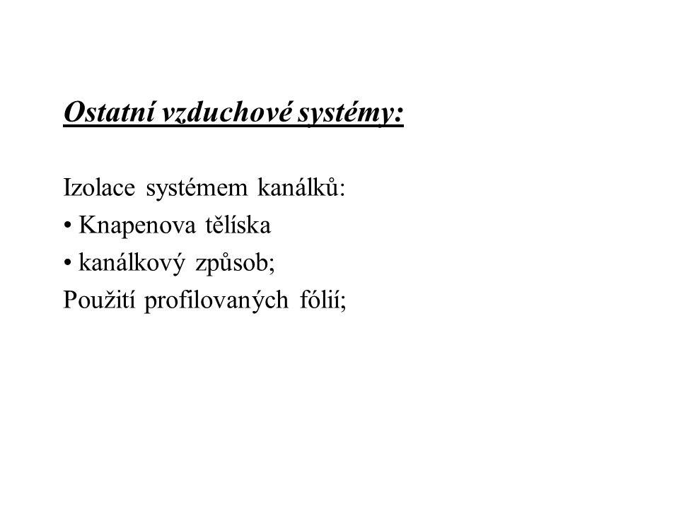 Ostatní vzduchové systémy: Izolace systémem kanálků: Knapenova tělíska kanálkový způsob; Použití profilovaných fólií;