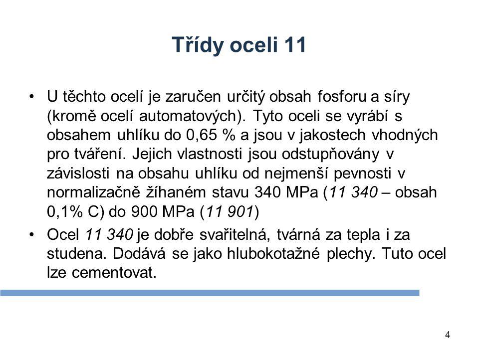 Třídy oceli 11 U těchto ocelí je zaručen určitý obsah fosforu a síry (kromě ocelí automatových).