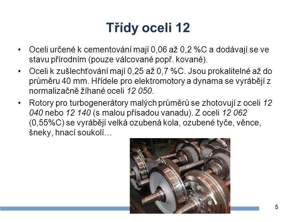 Třídy oceli 12 Oceli určené k cementování mají 0,06 až 0,2 %C a dodávají se ve stavu přírodním (pouze válcované popř.