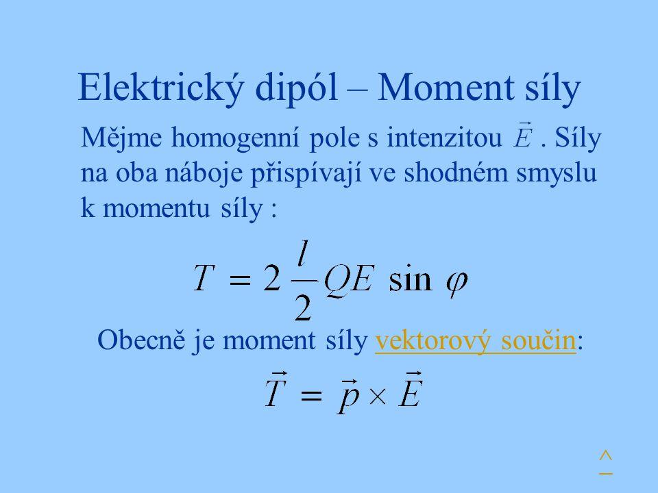 Elektrický dipól – Moment síly Mějme homogenní pole s intenzitou. Síly na oba náboje přispívají ve shodném smyslu k momentu síly : Obecně je moment sí