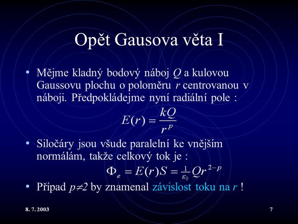 8. 7. 20037 Opět Gausova věta I Mějme kladný bodový náboj Q a kulovou Gaussovu plochu o poloměru r centrovanou v náboji. Předpokládejme nyní radiální