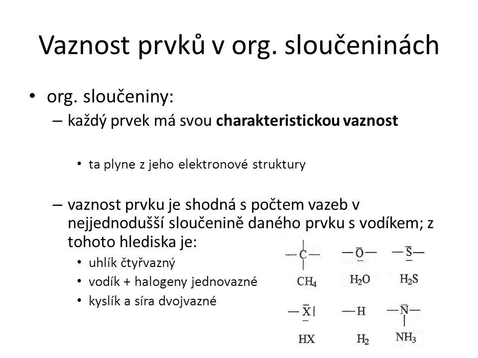 Vaznost prvků v org. sloučeninách org. sloučeniny: – každý prvek má svou charakteristickou vaznost ta plyne z jeho elektronové struktury – vaznost prv