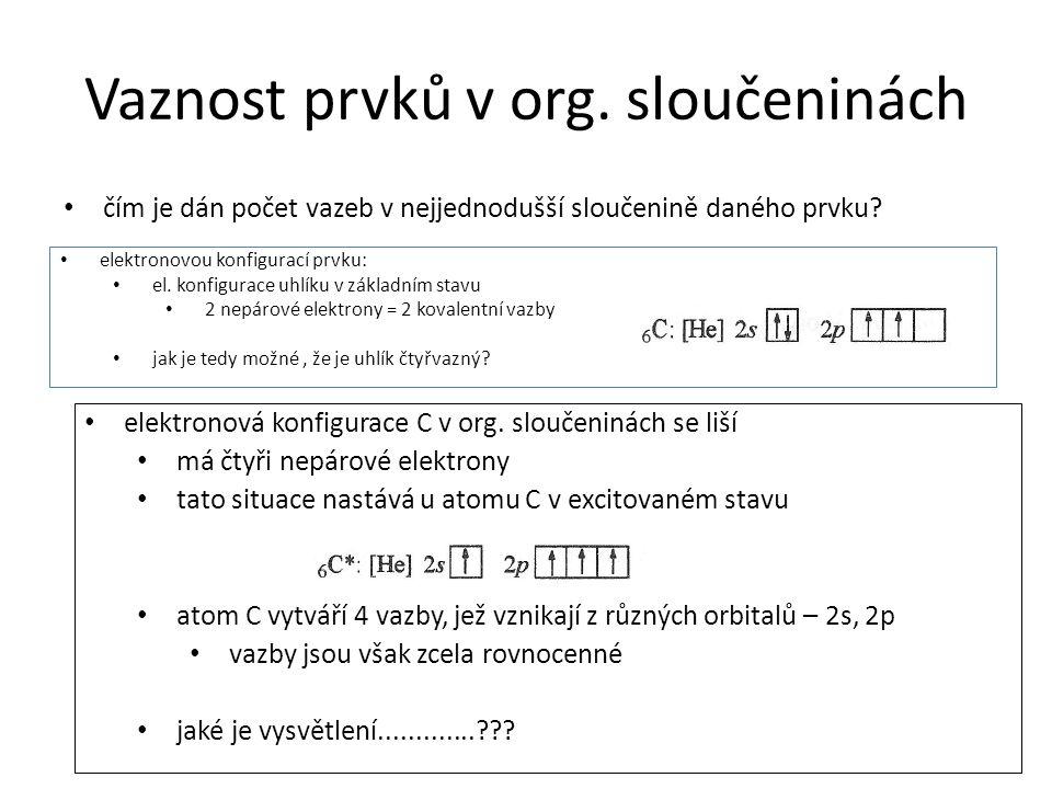 Vaznost prvků v org. sloučeninách čím je dán počet vazeb v nejjednodušší sloučenině daného prvku? elektronovou konfigurací prvku: el. konfigurace uhlí