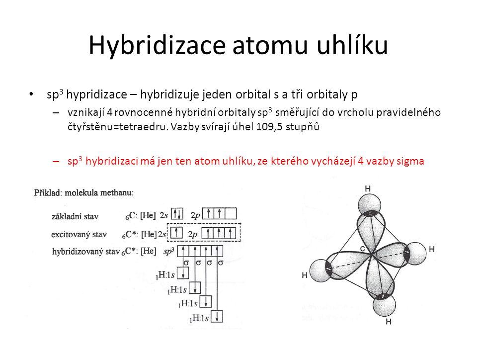 Hybridizace atomu uhlíku sp 3 hypridizace – hybridizuje jeden orbital s a tři orbitaly p – vznikají 4 rovnocenné hybridní orbitaly sp 3 směřující do v