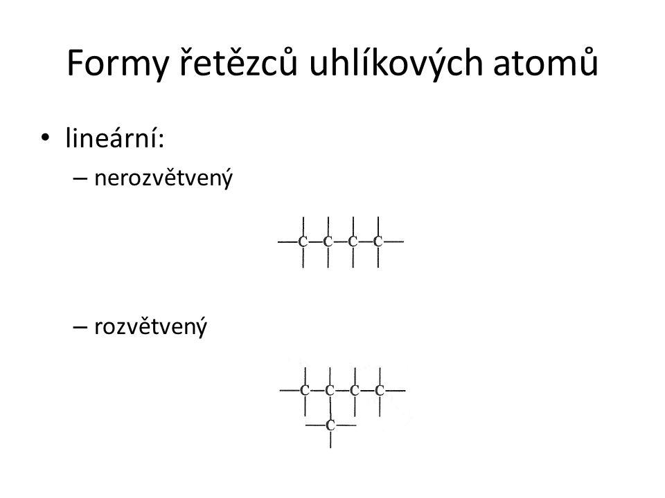 Formy řetězců uhlíkových atomů lineární: – nerozvětvený – rozvětvený