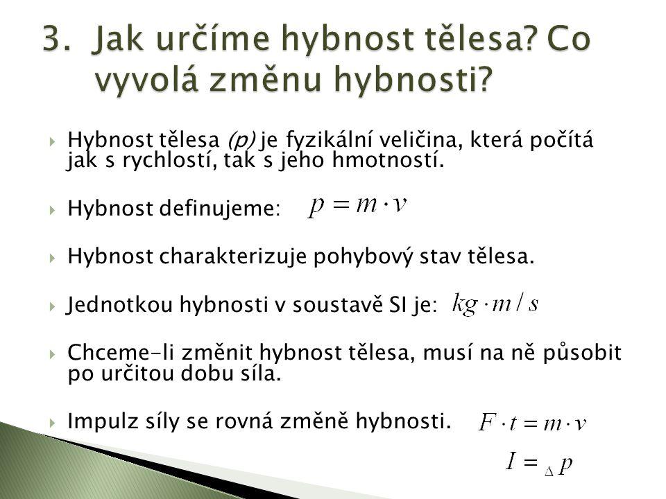  Hybnost tělesa (p) je fyzikální veličina, která počítá jak s rychlostí, tak s jeho hmotností.