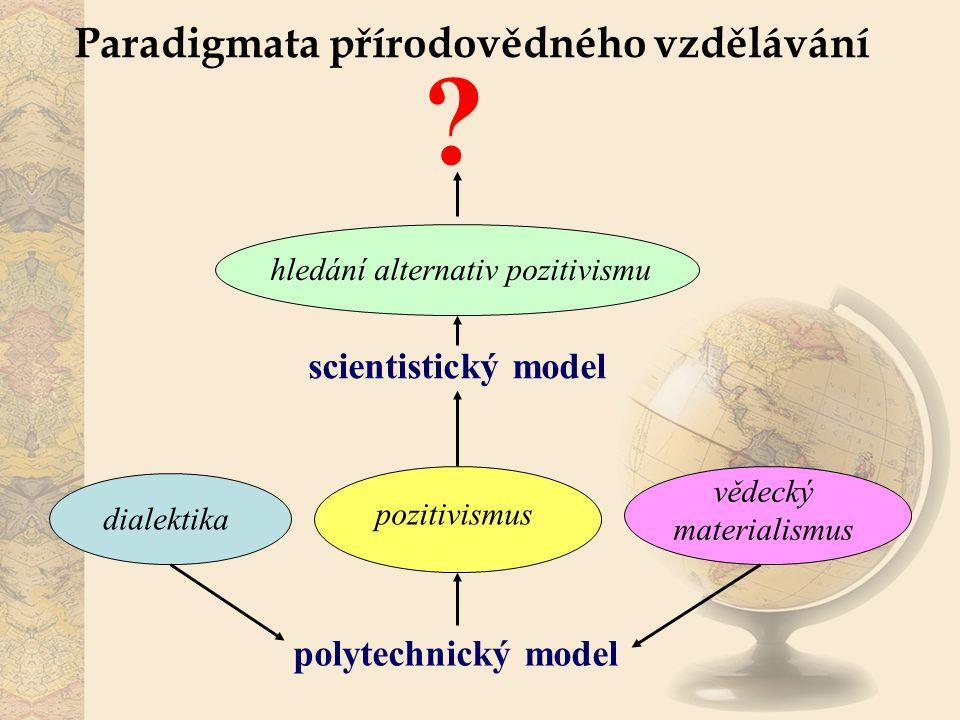 Paradigmata přírodovědného vzdělávání polytechnický model scientistický model dialektika vědecký materialismus pozitivismus hledání alternativ pozitiv