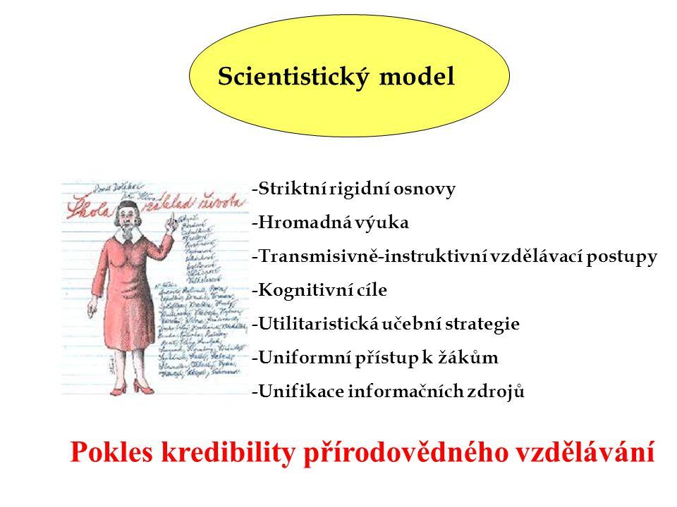 Scientistický model -Striktní rigidní osnovy -Hromadná výuka -Transmisivně-instruktivní vzdělávací postupy -Kognitivní cíle -Utilitaristická učební st